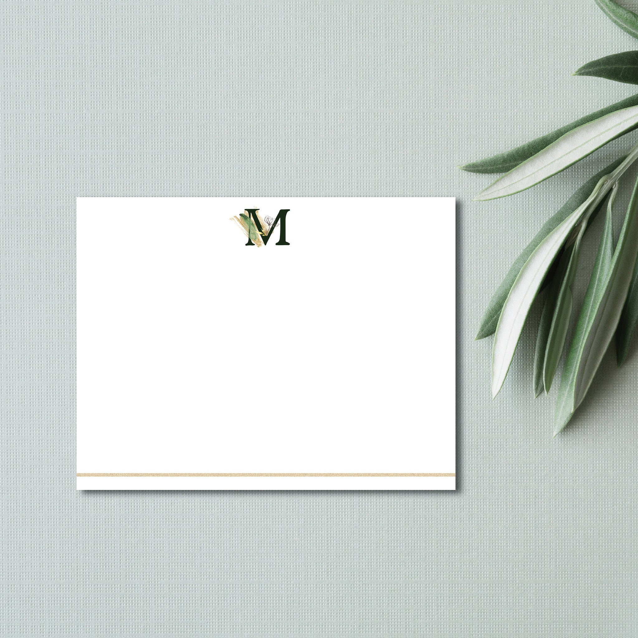 Embellished Initial Flat Note Card (set of 20)
