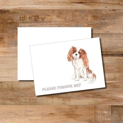 "Adorable watercolor dog states ""Please furgive me"" folded note card with matching blank envelope"