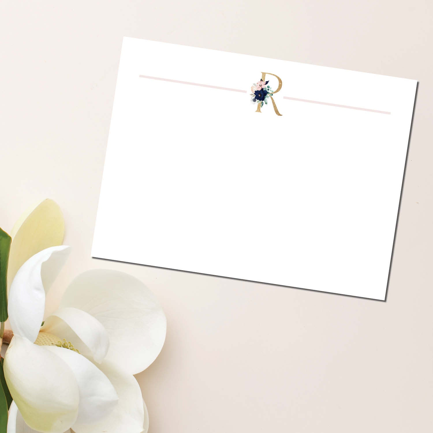 Navy & Pink Floral Initial Flat Note Card (set of 20)