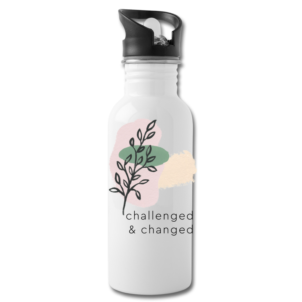 Challenged & Changed Water Bottle - white