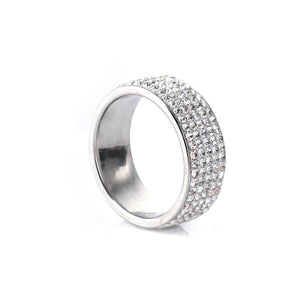 Stainless Steel Sparkling Ring with Crystals - Available in Multiple Sizes and Colours