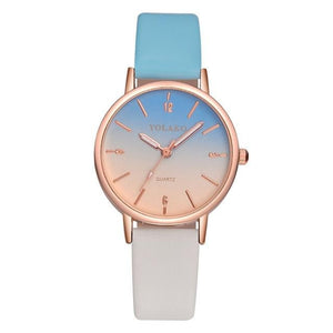 Double Coloured PU Leather Strap Quartz Watch - Available in Multiple Colours