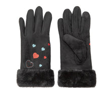 Load image into Gallery viewer, Suede Effect Embroidered Gloves with Touch Screen Feature - Available in Multiple Colours