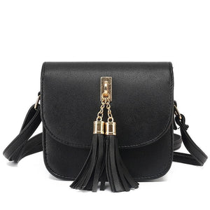 Mini PU Leather Cross-Body Bag with Tassel Pendant - Available in Multiple Colours