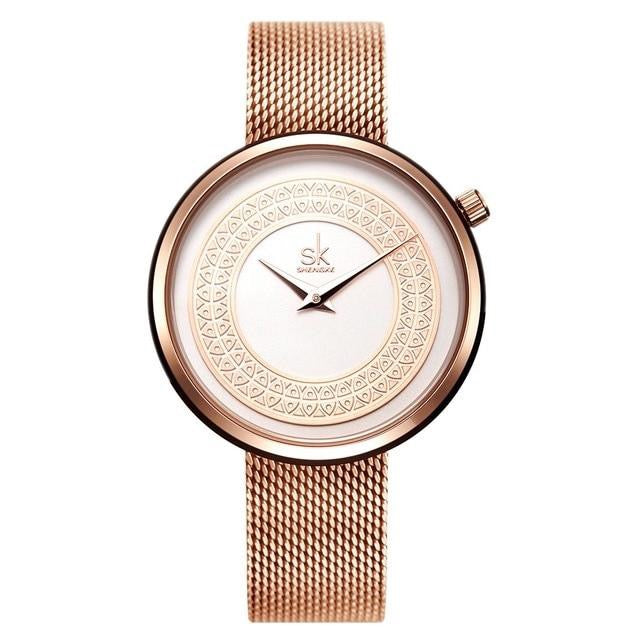 SK Stainless Steel Metal Mesh Strap Quartz Watch - Available in Multiple Colours