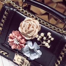 Load image into Gallery viewer, Black With Floral Decoration Cross-Body Bag
