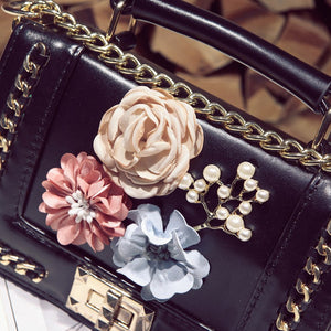 Black With Floral Decoration Cross-Body Bag