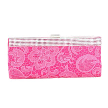 Load image into Gallery viewer, Pink Lace Floral Patterned Fabric Clutch