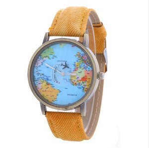 PU Leather and Denim Strap World Map Quartz Watch - Available in Multiple Colours