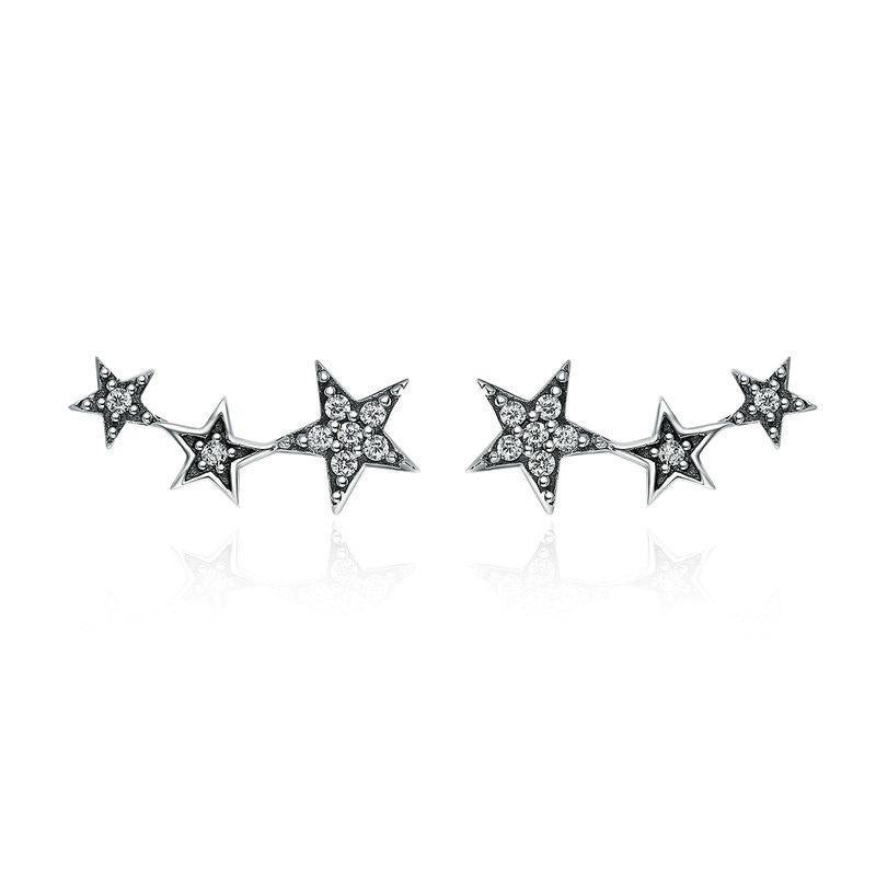 925 Sterling Silver Trio of Stars Stud Earrings