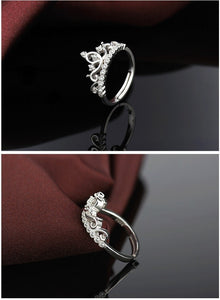 Crown Shaped Adjustable Silver Ring