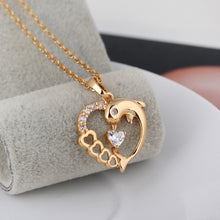 Load image into Gallery viewer, Dolphin Heart Shaped Hollowed Gold Necklace