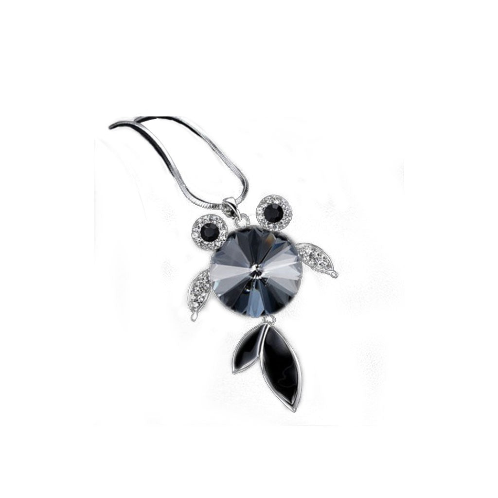 Fish Shaped Silver&Black Necklace