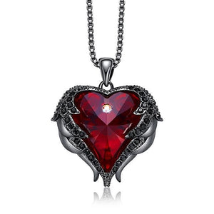 Heart Shaped Angel Wings Necklace with Swarovski Crystals - Available in Multiple Colours