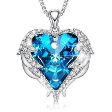 Load image into Gallery viewer, Heart Shaped Angel Wings Necklace with Swarovski Crystals - Available in Multiple Colours