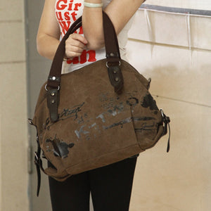 Canvas Shoulder Bag with Print - Available in Multiple Colours
