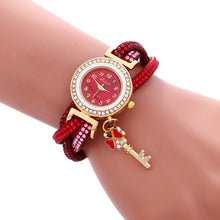 Load image into Gallery viewer, Crystal PU Leather Strap Quartz Bracelet Watch with Clover Key Pendant