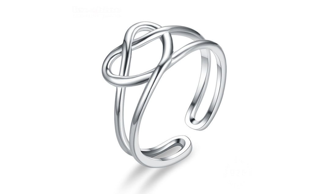 Heart Shaped Adjustable Silver Ring
