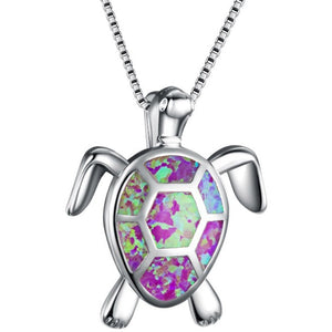 Turtle Shaped Silver Necklace - Available in Multiple Colours