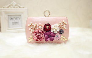 Luxury PU Leather Clutch with Floral Decoration - Available in Multiple Colours