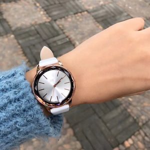 Numberless Stainless Steel Genuine Leather Strap Quartz Watch - Available in Multiple Colours