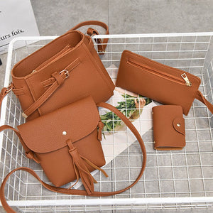 Brown PU Leather Set of 4
