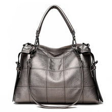 Load image into Gallery viewer, Checked Patterned Genuine Leather Shoulder Bag - Available in Multiple Colours