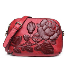 Load image into Gallery viewer, Rose Patterned Split Leather Cross-Body Bag - Available in Multiple Colours