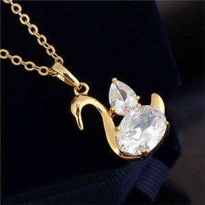 Swan Shaped Gold Necklace