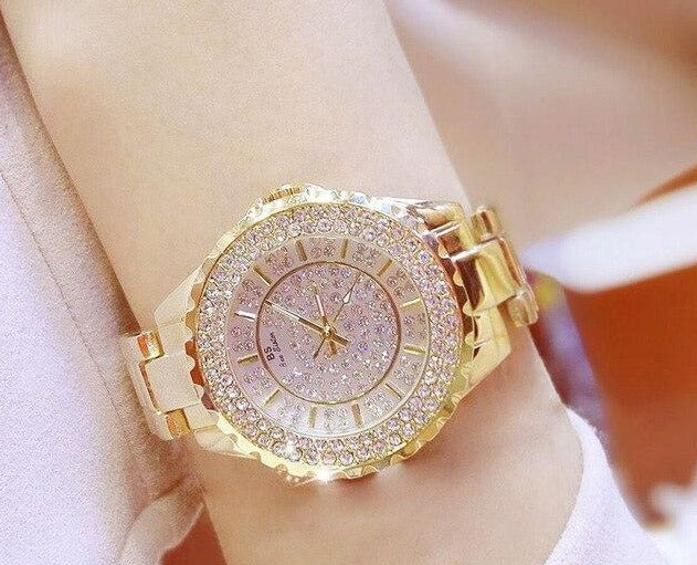 Sparkling Stainless Steel Crystal Quartz Watch - Available in Multiple Colours