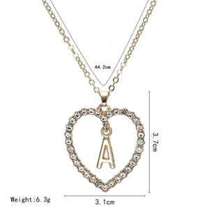 Heart Shaped Alphabetic Gold Necklace