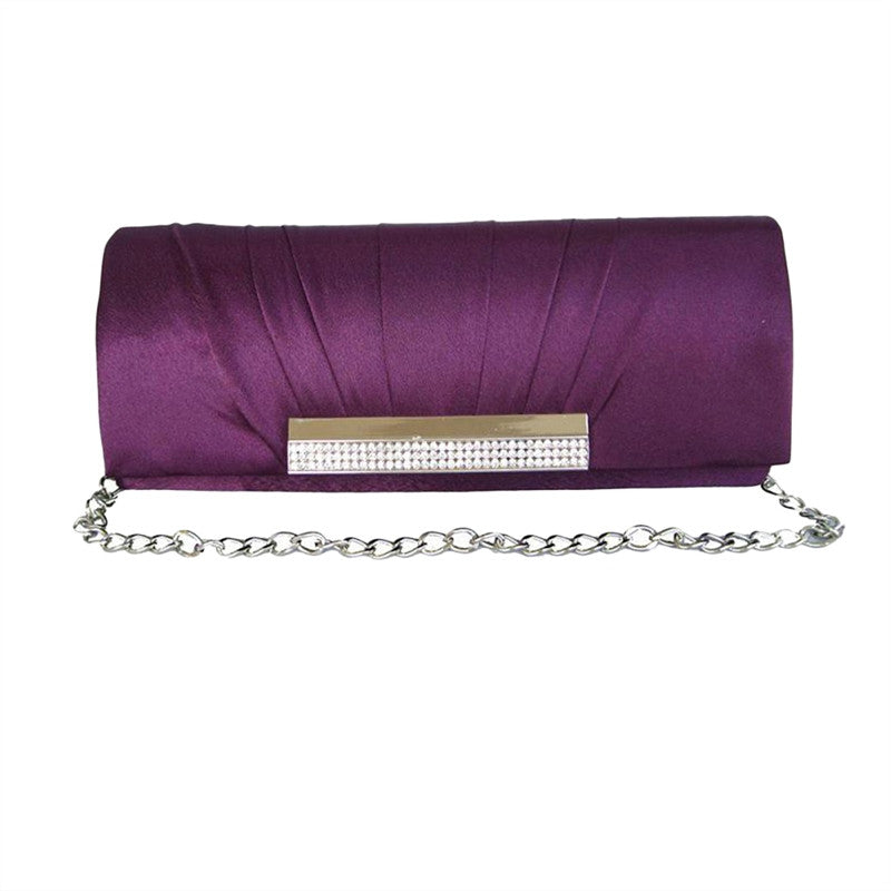 Purple Shiny Fabric Clutch