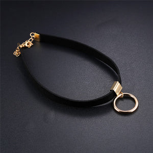 Black Flannel Choker with Gold Ring Pendant