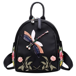 Black With Dragonfly Decoration Backpack