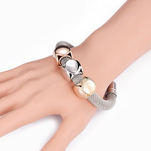 Titanium Steel Mesh Geometry Bracelet Big Thick Chain Adjustable New Style Women Bracelet Gold Silver Color Bangles