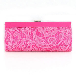 Pink Lace Floral Patterned Fabric Clutch