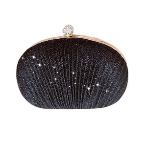 Glittered Shell Shaped PU Leather Clutch