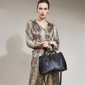 Black Snake Patterned High Quality Genuine Leather Handbag