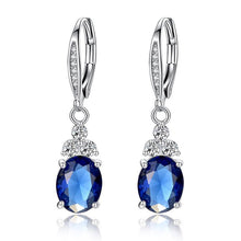 Load image into Gallery viewer, Silver Oval Cut Stone Earrings - Available in Multiple Colours