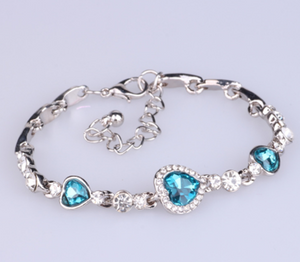 Ocean Heart Silver Bracelet with Crystals - Available in Multiple Colours