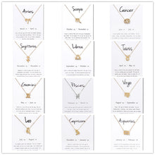 Load image into Gallery viewer, 12 Constellation Zodiac Pendant Zinc Alloy Necklace - Available in Multiple Colours