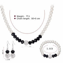 Load image into Gallery viewer, Silver Plated Beaded Set of 3 with Imitation Pearls