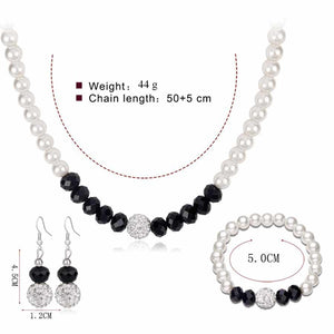 Silver Plated Beaded Set of 3 with Imitation Pearls