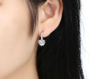 Silver Earrings with Heart Shaped Stone - Available in Multiple Colours