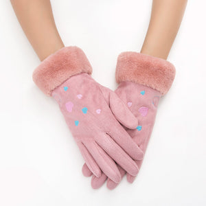 Suede Effect Embroidered Gloves with Touch Screen Feature - Available in Multiple Colours