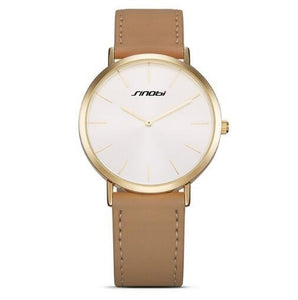 SINOBI Numberless Stainless Steel Quartz Watch with PU Leather Strap - Available in Multiple Colour