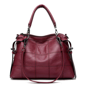 Checked Patterned Genuine Leather Shoulder Bag - Available in Multiple Colours