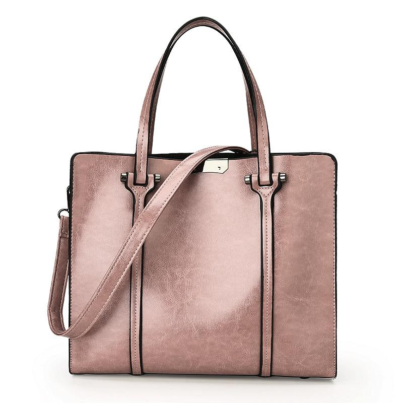 Oil Wax Effect PU Leather Handbag - Available in Multiple Colours