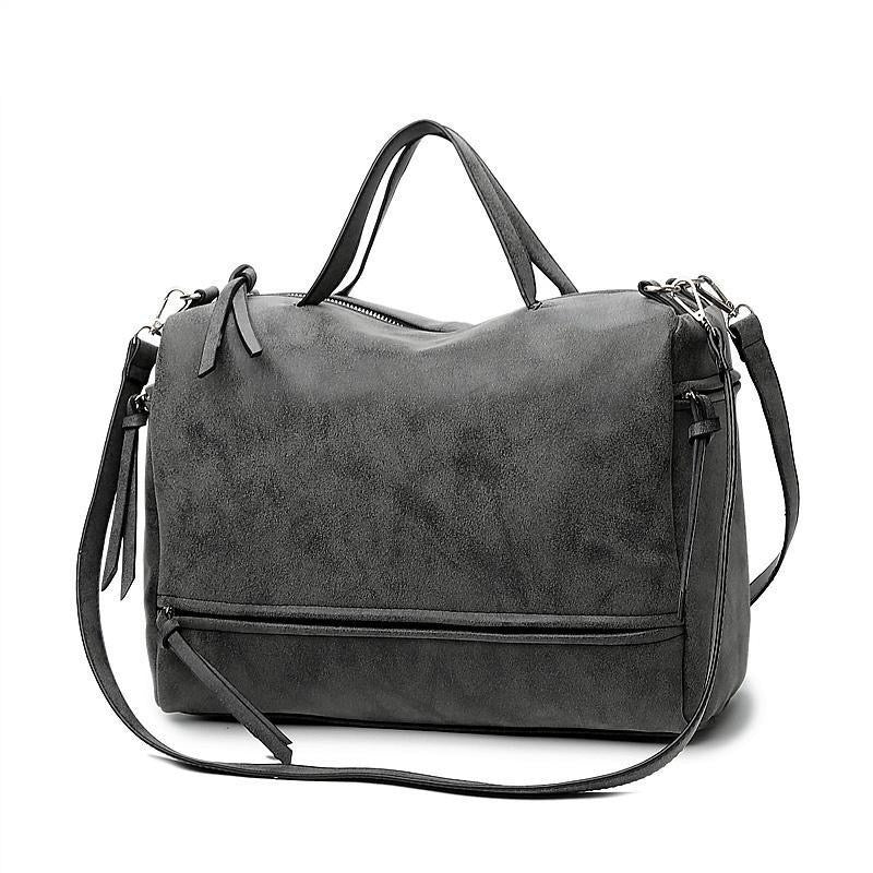 Vintage Suede Effect PU Leather Handbag - Available in Multiple Colours
