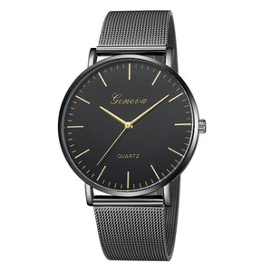 Geneva Stainless Steel Mesh Strap Quartz Watch - Available in Multiple Colours